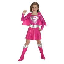 Rosa Traje De Supergirl Infantil, Medio