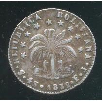 Moneda Bolivia 4 Soles 1858 Excelente Estado En Plata