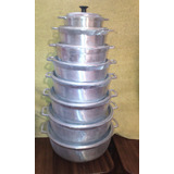 Calderos O Pailas Juego De 8 Con Tapa De Aluminio Fundido