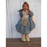 Antigua Muñeca Relleno Estopa Tela Paño Cara Pintada A Mano
