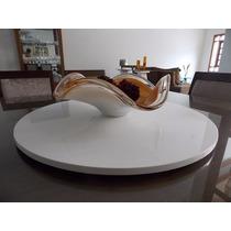 Prato Bandeja Giratório De Mesa Jantar 60cm Decor Branco