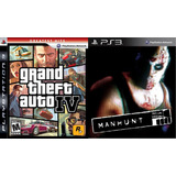 Grand Theft Auto Iv + Manhunt Para Ps3