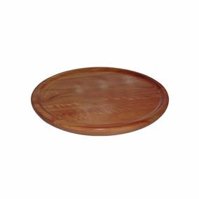 Prato Tábua Madeira Redonda Para Churrasco 28,5 Cm Ref 5252