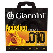 Encordoamento / Jogo Cordas Violão Aço 010 Giannini Acústico