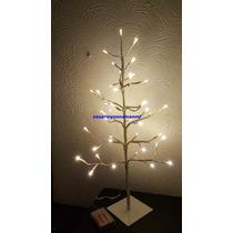 Arbolito De Navidad De Pilas Tronco Blanco Y 41 Luces Leds