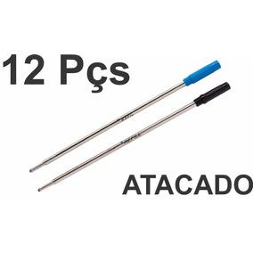 12x Carga Metálica Refil Caneta Cross Azul Ou Preta Atacado