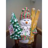 Muñeco De Nieve Cerámica Recuerdo Navidad