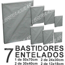 Kit 7 Bastidores 12 Acrilicos 3 Pinceles 1 Paleta Madera
