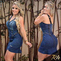 Vestido Rhero Jeans Bordado Estilo Pitbull