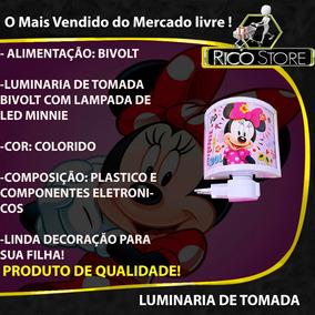Minnie Mini Abajur Luminária Tomada Luz Menina Disney Bivolt