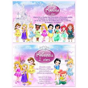 Invitaciones Princesas Cenicienta Merida Rapunzel Frozen