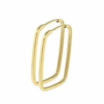 Brinco De Argola Quadrado Em Ouro 18k-750