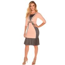 Vestido Crepe Tubinho Geométrico Moda Evangélica Exclusivo