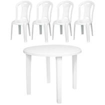 Mesa Redonda E Cadeiras Deplástico Tramontina Com Anti Uv