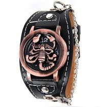 Relógio Escorpião. Bracelete Couro. Estiloso. Frete Grátis.