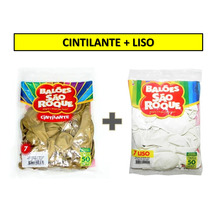 Dourado + Liso + Canudo Balão São Roque Nº 7 - 60 Pacotes