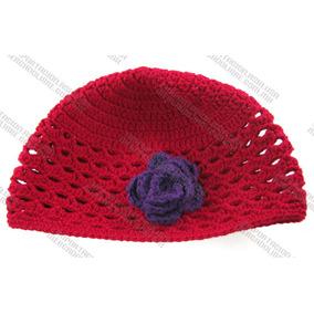 Gorras Tejidas Con Flor Estambre Crochet Para Chica Y Bebé