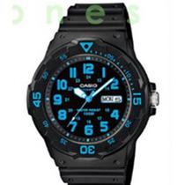 Reloj Casio Azul Cielo Neón Análogo Día Y Fecha Envio Gratis