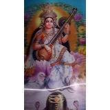 Lámina 3d Hologr 2 Imag Durga Krishna Sarasvati 35x25 Hindu