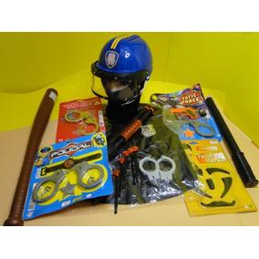Super Kit Policial Militar Bope Capacete Algemas Cacetete