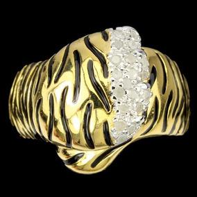 Jóia Anel Diamante Natural - Prata 925 Ouro 18k