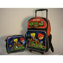 Morral Angry Birds Large 16 \mochila Con Ruedas Con Bolsa D