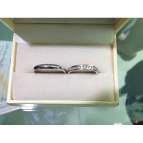Set De Argollas Oro Blanco De Matrimonio Con Diamantes