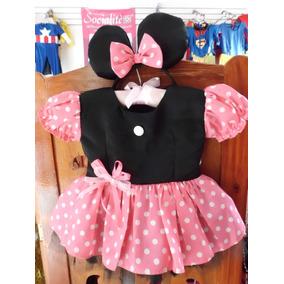 Vestido Minnie Rosa Con Negro Talla 1
