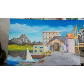 Pintura A Mão Óleo Sobre Tela 40cm X 60cm Ost Quadro Casa