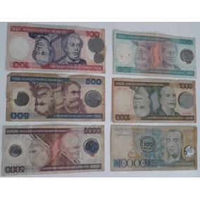 Dinheiro Antigo, Coleção, 6 Cédulas + 9 Moedas + Frete Pago.