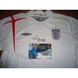 Autografiada!! Camiseta Inglaterra Umbro Firmada Beckham !!