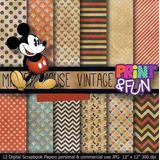 Kit Imprimible Pack Fondos Mickey Mouse 4 Clipart