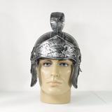 Capacete Romano Prata Luxo / Capacete Gladiador Prateado