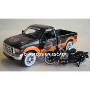Ford F-350 1999 Pick Up + Harley Davidson - N Maisto 1/24