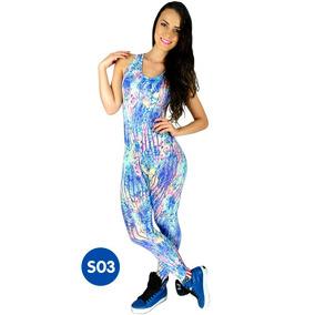 Kit 5 Macacão Estampado Feminino Suplex Fitness Academia