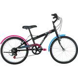 Bicicleta Caloi Monster High 7 Velocidades Aro 20 Preto/rosa