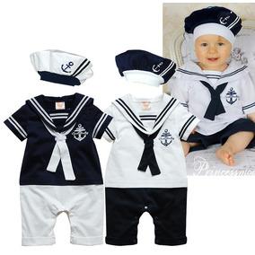 Macacão De Marinheiro Para Bebês Com Boina - Azul Ou Branco