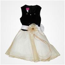 Vestido De Fiesta Para Niña Gerat Color Negro Con Dorado