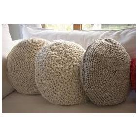 Almohadones Puff Tejidos Crochet/piel/totora