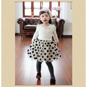 Vestido De Festa Infantil Saia Poa E Colar - Outono Inverno