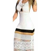 Vestido Longo Tricot Crochet Renda Moda Feminina Verão 2017