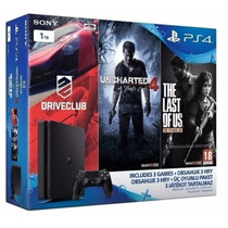 Playstation 4 Ps4 Slim 1tb + Uncharted + Driver + Last Of Us