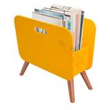 Revisteiro Em Laca Amarelo Porta Revistas Luxo Sala Lindo