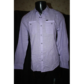 Camisa Color Lila, Marca Guess Manga Larga, Vestir