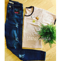 Remera Rayada Rosa Con Pines Pin Apliques Margot Jeans