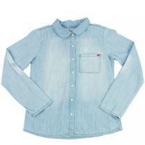 Camisa Jeans Infantil Menina Hering Kids Manga Longa