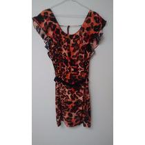 Vestido Marca Ayres, Naranja Con Cinturoncito- T Small