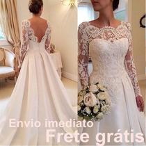 Vestido Com Véu Noiva Renda Manga Comprida Casamento