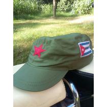 Gorra Verde Militar Con Estrella Roja Y Bandera De Cuba