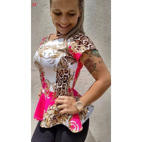 Blusa Cintura Marcada Manga Curta Com Babado - Vários Modelo